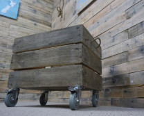wooden crate on castors